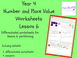 partitioning worksheets year 4 number and place value by mrssbunny teaching resources. Black Bedroom Furniture Sets. Home Design Ideas