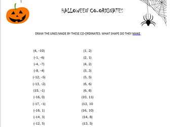 Halloween Maths- Co-ordinates in all Four quadrants