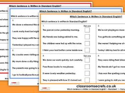 KS2 GPS SATs Which Sentence is Written in Standard English? Test Practice Questions