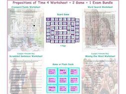 Time Prepositions 4 Worksheet-2 Game-1 Exam Bundle