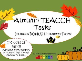 Autumn and Halloween TEACCH Tasks and Activities - independent Autism tasks