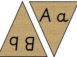 Reggio Inspired Natural Pre-cursive Handwriting Alphabet Bunting