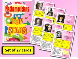 Famous MATHEMATICIANS Top Stars Card Game set of 27 Maths End of Term Activity