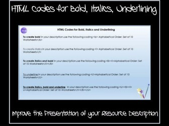 TES Authors: HTML Codes