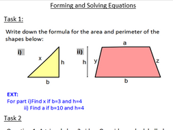 Algebraic Solving Forming And Solving Equations Worksheets By