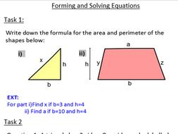 Algebraic Solving & forming and solving equations worksheets