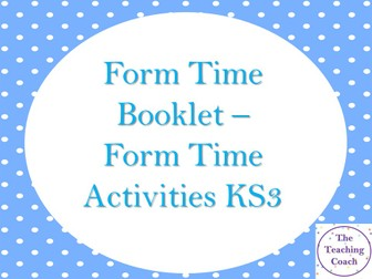 Home Remote Learning - KS3 Form Tutor Time - Pastoral Activity Booklet