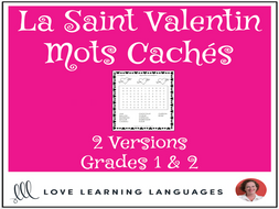 Primary French - Valentine's Day Word Search - Mots Cachés - La Saint Valentin