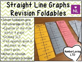 Straight Line Graphs Revision Foldable