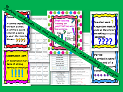 Grammar- End of the sentence punctuation -worksheets