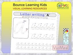 Letter writing practice using Victoria Modern Cursive font