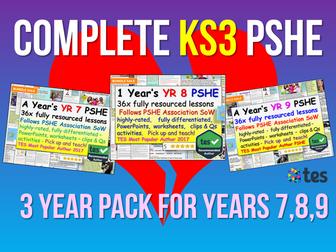 KS3 PSHE : 3 Years of KS3 PSHE