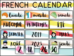 FRENCH CALENDAR SET - DAYS MONTHS SEASONS - WORD WALL - PRINTABLE LABELS