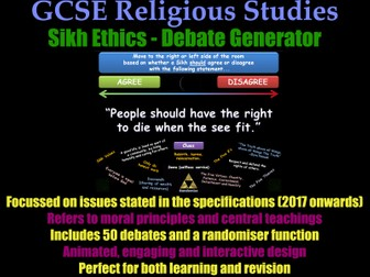 GCSE Sikhism - Ethical Debate Generator [Sikh Morality, Revision, RE, RS, Exam Practice]