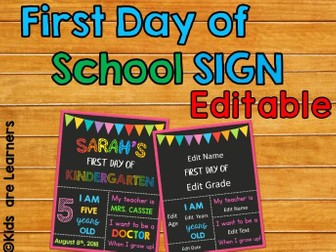 First Day of School Sign - For Primary Grades - Editable