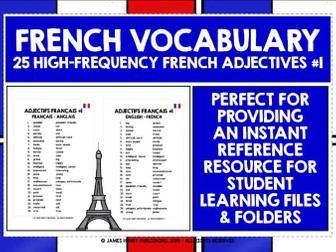 FRENCH ADJECTIVES LIST #1
