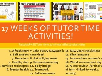 Pastoral/PHSE/Tutor time/Assembly activities SOW