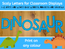 A to Z scaly letters for classroom displays
