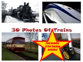 30 Train Images And Photos PowerPoint Presentation + 31 Teaching Activity Teaching Guide