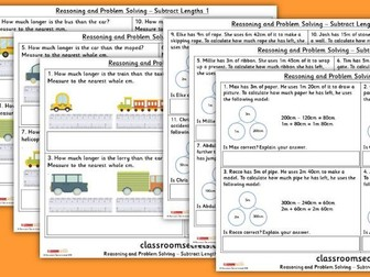 Year 3 Subtract Lengths Block 4 Reasoning and Problem Solving Pack