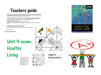 Cootie catcher revision tool for btec Unit 9 Healthy living exam/ external assessment