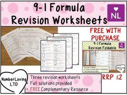 Formula Revision Worksheets and Foldable GCSE 9-1