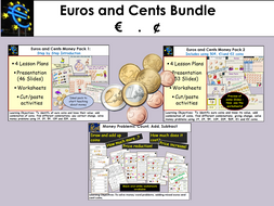 Money: Euros and Cents - Presentations, Worksheets, Activities Bundle