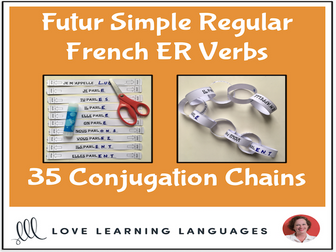 Futur Simple French ER Verbs - Primary French conjugation chains - Cut and paste