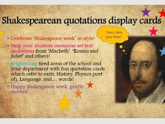 Shakespeare Week: great set of Shakespeare quotation display cards/teaching resources