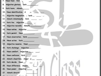 Word Forms 1 Page BW Worksheet