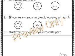 Snowmen At Night Story Response Sheet and Graphic Organizer