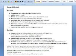 A-Level OCR Sociology (H580) - Revision Notes on Research Methods
