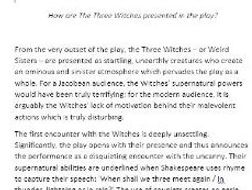 Macbeth: Presentation of  The Witches essay
