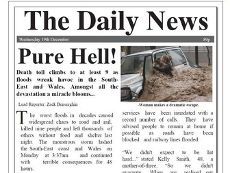 Flood Newspaper Report with comprehension KS2