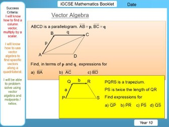 Vector Algebra - iGCSE Booklet