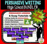 Persuasive Writing Prompts Bundle – Digital Resource – 10 Lessons!!! – High School