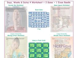 Days, Weeks & Dates 4 Worksheet-2 Game-1 Exam Bundle