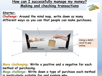 Finance : Money Management PSHE Lesson