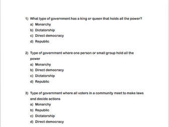 Forms of Government Questions