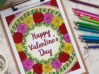 "Happy Valentine's Day Coloring Page | Printable 8.5x11"" PDF coloring page"