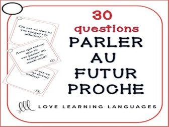 GCSE FRENCH: Futur proche speaking task cards