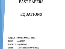 Cambridge Lower Secondary Checkpoint Topical Classified Past Papers-Mathematics-EQUATIONS