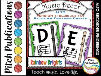Alto Recorder Fingering Chart Posters v1 Black/Tan- Music Decor Rainbow Brights