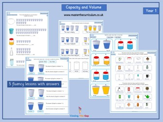 Year 1 Capacity and Volume Differentiated Worksheets