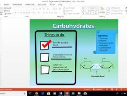 AQA A-Level Biology Polymerisation of Carbohydrates lesson