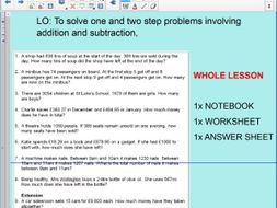 Whole Lesson - multi step word problems - addition - subtraction - KS2 - Year 5 – 6