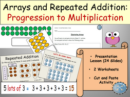 Multiplication Repeated Addition And Arrays Presentation  Multiplication Repeated Addition And Arrays Presentation Worksheets Cut  And Paste Activities