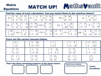 matrices match up worksheets bundle by jtodd  teaching resources  matrix equations match up worksheet