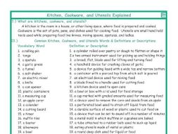 Kitchen, Cookware, and Utensils Explanation-Definitions