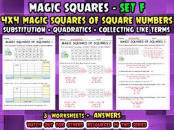 MAGIC SQUARES OF SQUARES - Substitution - Quadratics - Collecting Like terms + ANSWERS